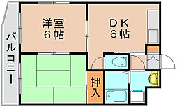 フリューゲル大野城[2階]の間取り