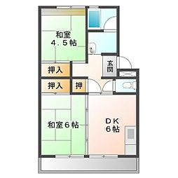 上浜団地(1・2号棟)[2-605号室]の間取り