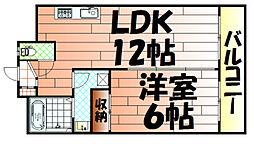 福岡県北九州市小倉北区片野5の賃貸マンションの間取り