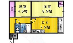 シャトーアヴァンセ 2階2DKの間取り