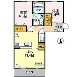 ビスターレ 3階2LDKの間取り