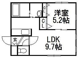 KI.Hassamu4-4[2階]の間取り