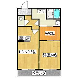 京都地下鉄東西線 石田駅 徒歩7分の賃貸アパート 2階1LDKの間取り
