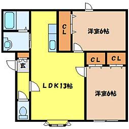 北海道札幌市中央区北七条西21丁目の賃貸アパートの間取り