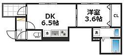 ソリュートピア 2階1DKの間取り