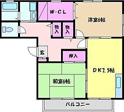 兵庫県芦屋市宮川町の賃貸アパートの間取り