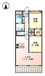 ボヌール・クレ[1階]の間取り