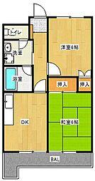 Osaka Metro谷町線 守口駅 徒歩7分の賃貸マンション 4階2DKの間取り