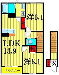 埼玉県越谷市花田6丁目の賃貸アパートの間取り