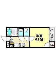 モダンアパートメント平野本町[2O2号室号室]の間取り