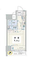 東京メトロ日比谷線 小伝馬町駅 徒歩3分の賃貸マンション 6階1Kの間取り