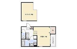 Osaka Metro谷町線 平野駅 徒歩8分の賃貸アパート 1階1Kの間取り