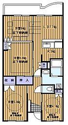 神奈川県横浜市緑区森の台の賃貸マンションの間取り