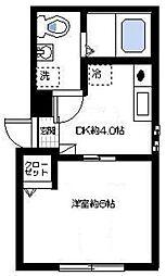 神奈川県横浜市磯子区森2丁目の賃貸アパートの間取り