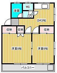 大谷口コーポ[4階]の間取り
