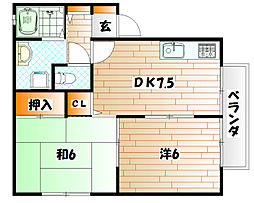 湯川桜荘 A棟[2階]の間取り