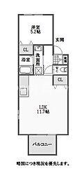 徳島県徳島市佐古六番町の賃貸アパートの間取り
