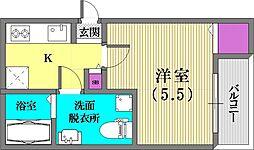 兵庫県神戸市長田区長楽町4丁目の賃貸アパートの間取り