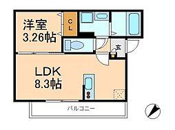 千葉県松戸市新松戸7丁目の賃貸アパートの間取り
