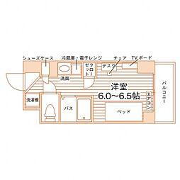 (仮称)学生会館 Campus terrace Ikebuk 6階ワンルームの間取り