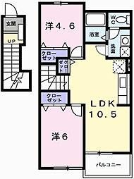 兵庫県姫路市勝原区朝日谷の賃貸アパートの間取り