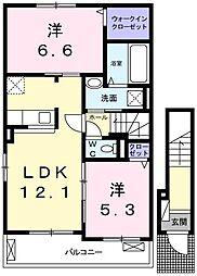 JR姫新線 本竜野駅 徒歩12分の賃貸アパート 2階2LDKの間取り