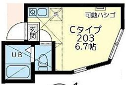 JR京浜東北・根岸線 桜木町駅 徒歩10分の賃貸アパート 2階ワンルームの間取り