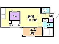 札幌市営東豊線 元町駅 徒歩2分の賃貸マンション 4階1LDKの間取り