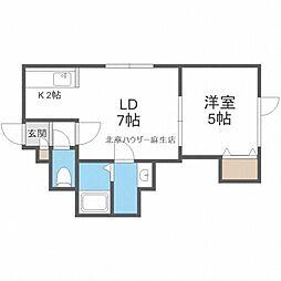 JR学園都市線 新琴似駅 3.1kmの賃貸アパート 2階1LDKの間取り