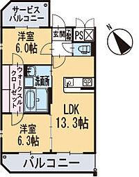 新築東大友町マンション[205号室]の間取り