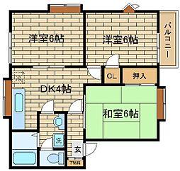 兵庫県神戸市須磨区松風町6丁目の賃貸アパートの間取り
