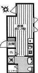 東京都文京区本駒込2丁目の賃貸アパートの間取り