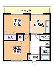 レジデンス上野田[205号室]の間取り