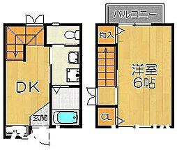 福岡市地下鉄七隈線 六本松駅 徒歩10分の賃貸タウンハウス 1階1DKの間取り