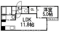 デュオレッド豊平[4階]の間取り