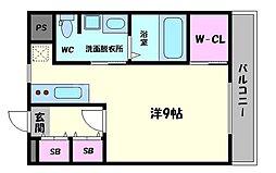 ヴァンスタージュ大阪城East 3階ワンルームの間取り
