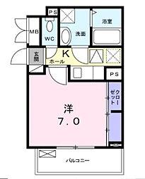 近鉄南大阪線 布忍駅 徒歩4分の賃貸アパート 3階1Kの間取り