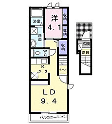 シャトーさくら[2階]の間取り