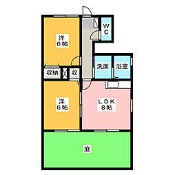 ブルーメ B棟[1階]の間取り