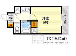 CITY LIFEディナスティ新大阪 6階1Kの間取り