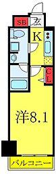 東武東上線 北池袋駅 徒歩8分の賃貸マンション 4階1Kの間取り