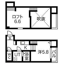 愛知県名古屋市昭和区鶴舞2丁目の賃貸アパートの間取り