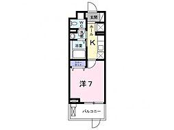 メゾンドタカハマ 2階1Kの間取り