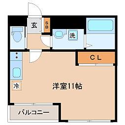S-FORT片平 14階ワンルームの間取り