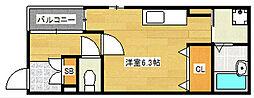 大阪府大阪市西成区玉出中2丁目の賃貸アパートの間取り