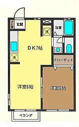 神奈川県高座郡寒川町大曲3丁目の賃貸アパートの間取り