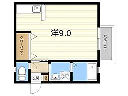 JR日豊本線 隼人駅 徒歩23分の賃貸アパート 1階ワンルームの間取り