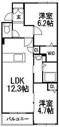 北海道札幌市中央区南十六条西9丁目の賃貸マンションの間取り