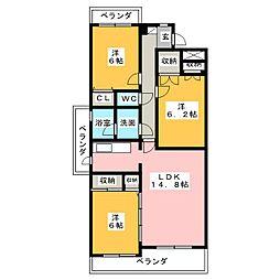 第5みかん山ハイツ[3階]の間取り