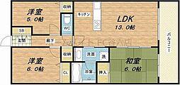コスモシティ鶴橋駅前[13階]の間取り
